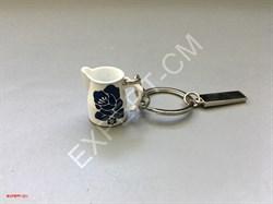 Брелок для ключей питчер белый с цветком - фото 12743