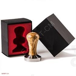 Темпер сталь PREMIUM коричневая ручка (дерево) d58мм с конусной подошвой - фото 20530