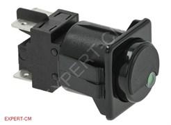 Эл.кнопка 28.5х28.5мм (черный) 250В 10А, 2х полюс.