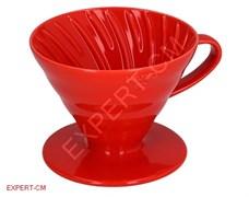 Воронка керамическая красная Hario VDC-02R на 1-4 чашки