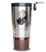 Кофемолка ручная, складная ручка, металл - стекло 353гр./65гр. 7x17см
