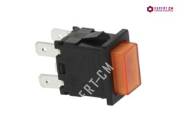 Электрическая кнопка (оранжевая) 20х13мм, 2х полюса 15А 250В с лампой индикации
